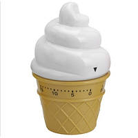 Таймер кухонный, Мороженое, пластик, белый