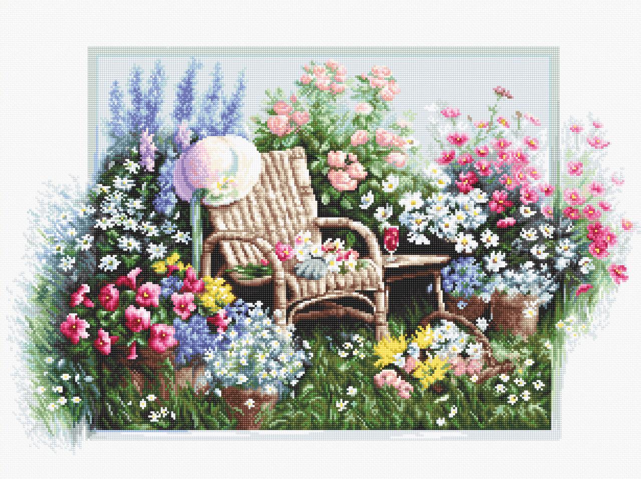 Набір для вишивання хрестиком 43х28см. Квітучий сад. Luca-S