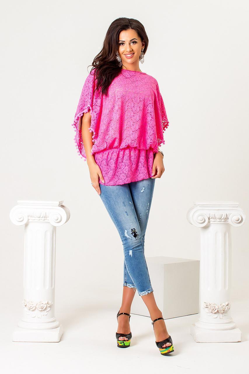Гипюровая женская блуза свободного кроя 53dis345