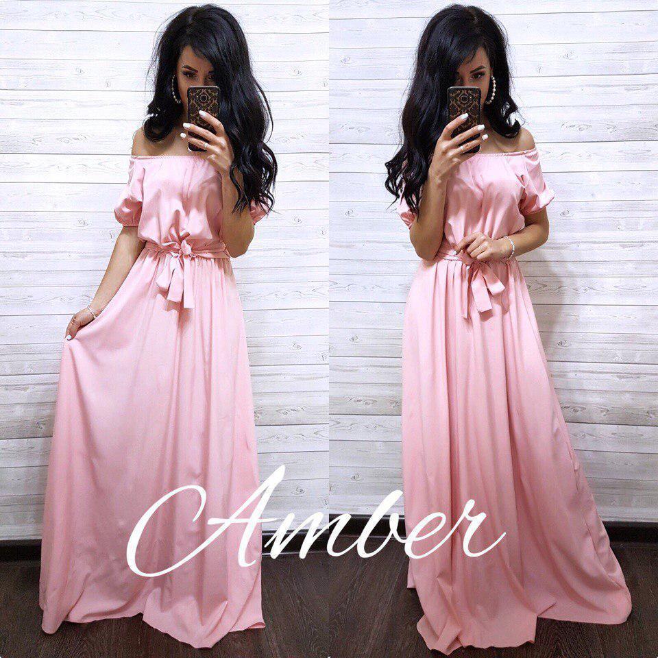 Длинное однотонное платье в пол с открытыми плечами 8plt1381