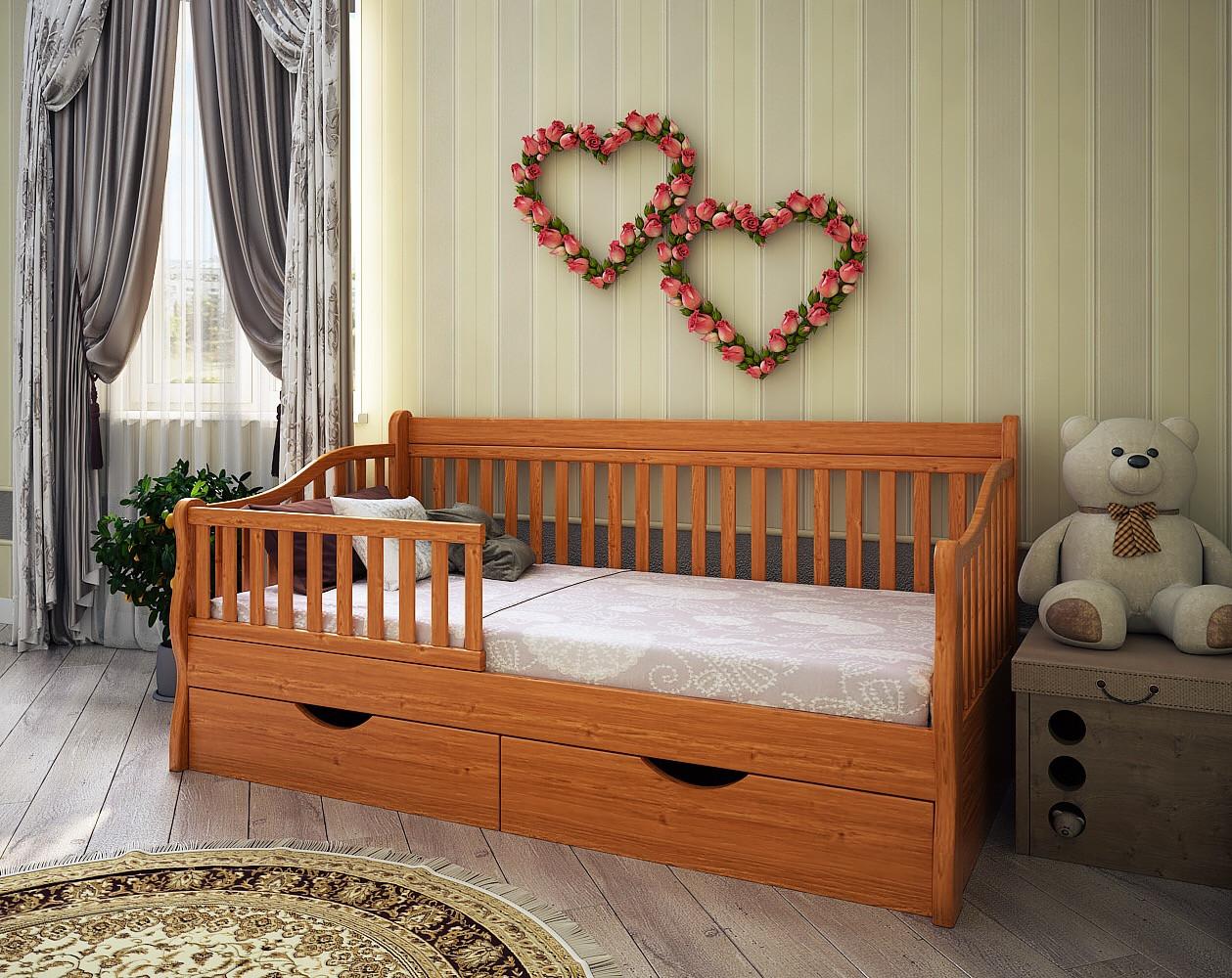 Кровать Софа детская подростковая массив дуб, ясень, ольха