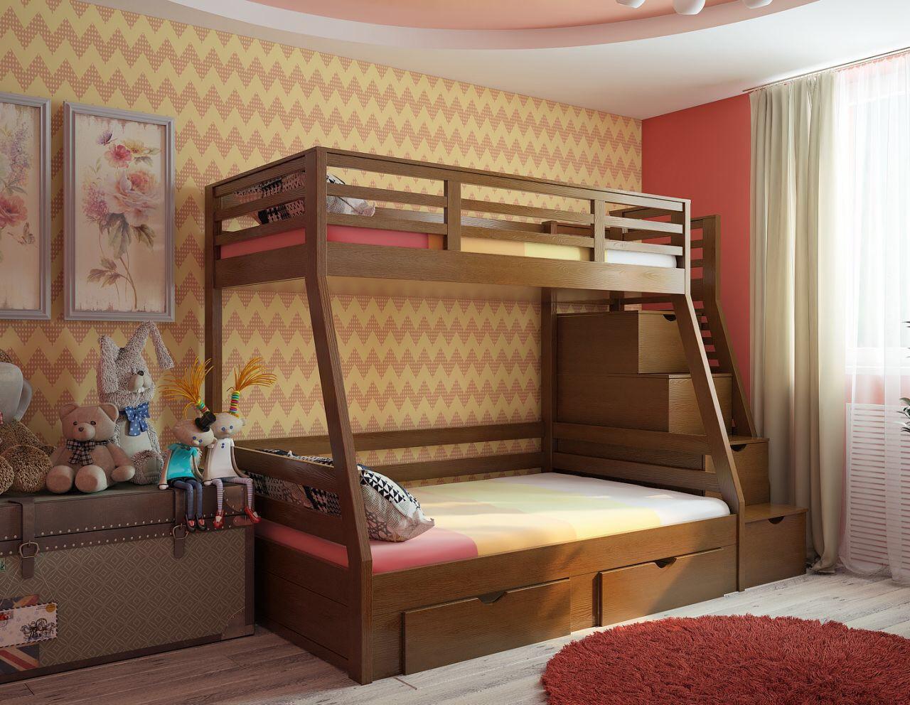 Двухярусная кровать со ступеньками ящиками Лесная, массив ясень