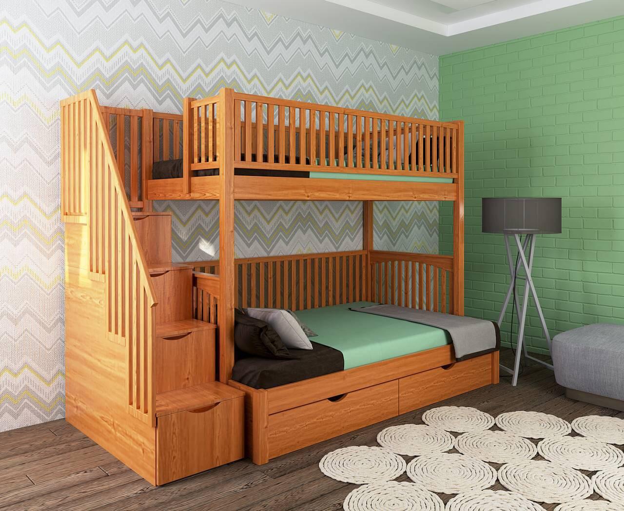 Двухярусная кровать Твин, массив дуб, ясень, ольха