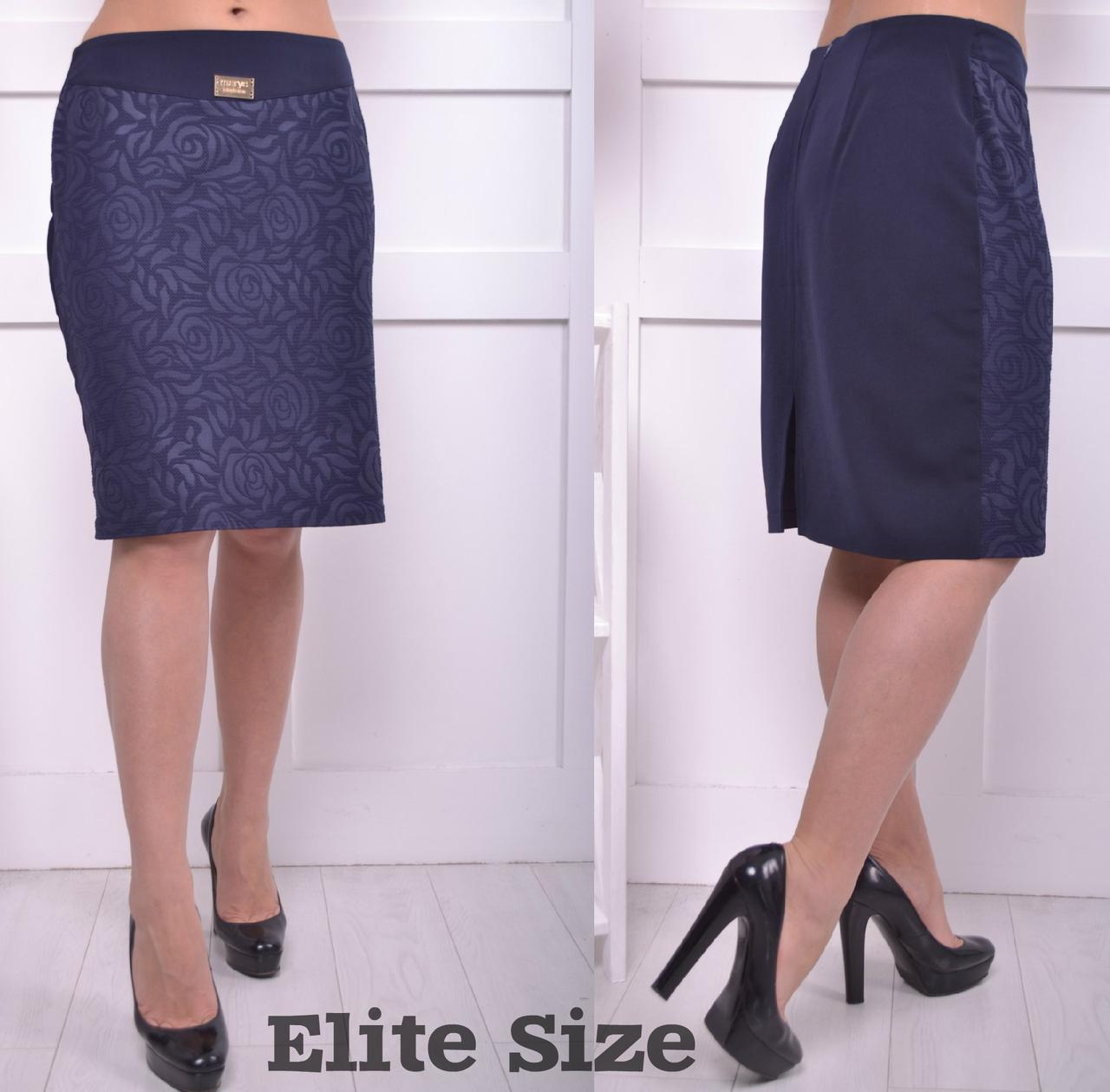 Женская юбка-карандаш в больших размерах из трикотажа 6blr779