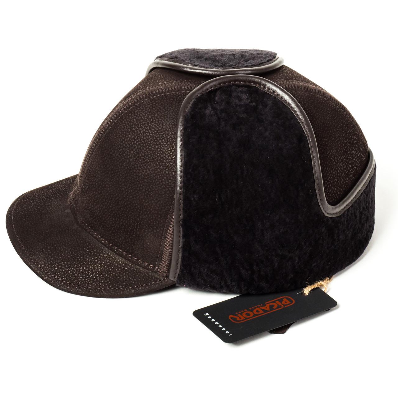 Кепка Жокей мужская замшевая коричневая Picador ЖСН-3-12-2