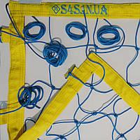 Сетка волейбольная «ЭЛИТ 15 НОРМА» с паракордом сине-желтая, фото 1