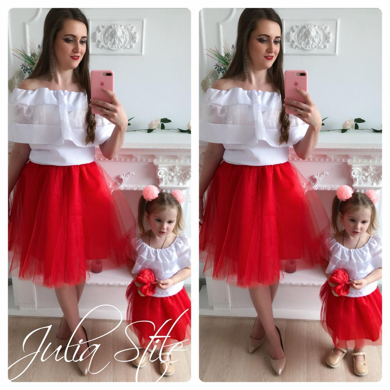 Одежда мама и дочка верх с открытыми плечами и воланом и фатиновая юбка 28mid04