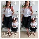 Одежда мама и дочка верх с открытыми плечами и воланом и фатиновая юбка 28mid04, фото 2