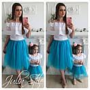 Одежда мама и дочка верх с открытыми плечами и воланом и фатиновая юбка 28mid04, фото 3