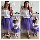Одежда мама и дочка верх с открытыми плечами и воланом и фатиновая юбка 28mid04, фото 6