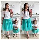 Одежда мама и дочка верх с открытыми плечами и воланом и фатиновая юбка 28mid04, фото 7