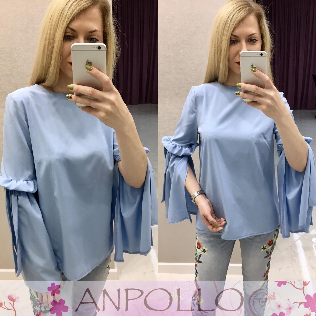 Женская прямая блуза с разрезами на рукавах 17bir161