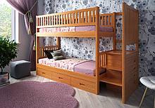 Двухярусная кровать со ступеньками ящиками Владимир, массив ольха, клен, ясень, дуб