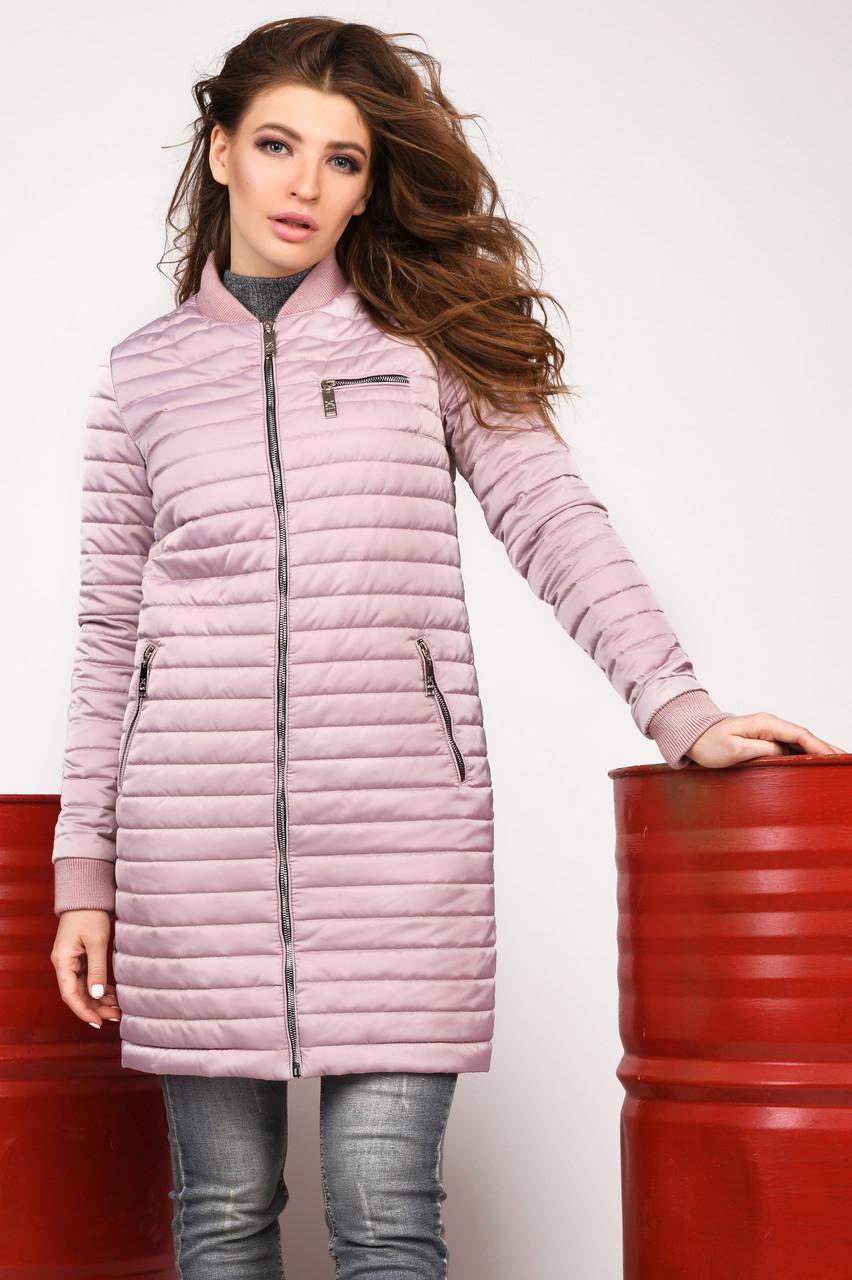 cb4ab20bfaa Удлиненная женская демисезонная куртка пудра - Интернет-магазин одежды  ALLSTUFF в Киеве