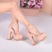 Босоножки с ремешком на каблуке и платформе пудровые, фото 1