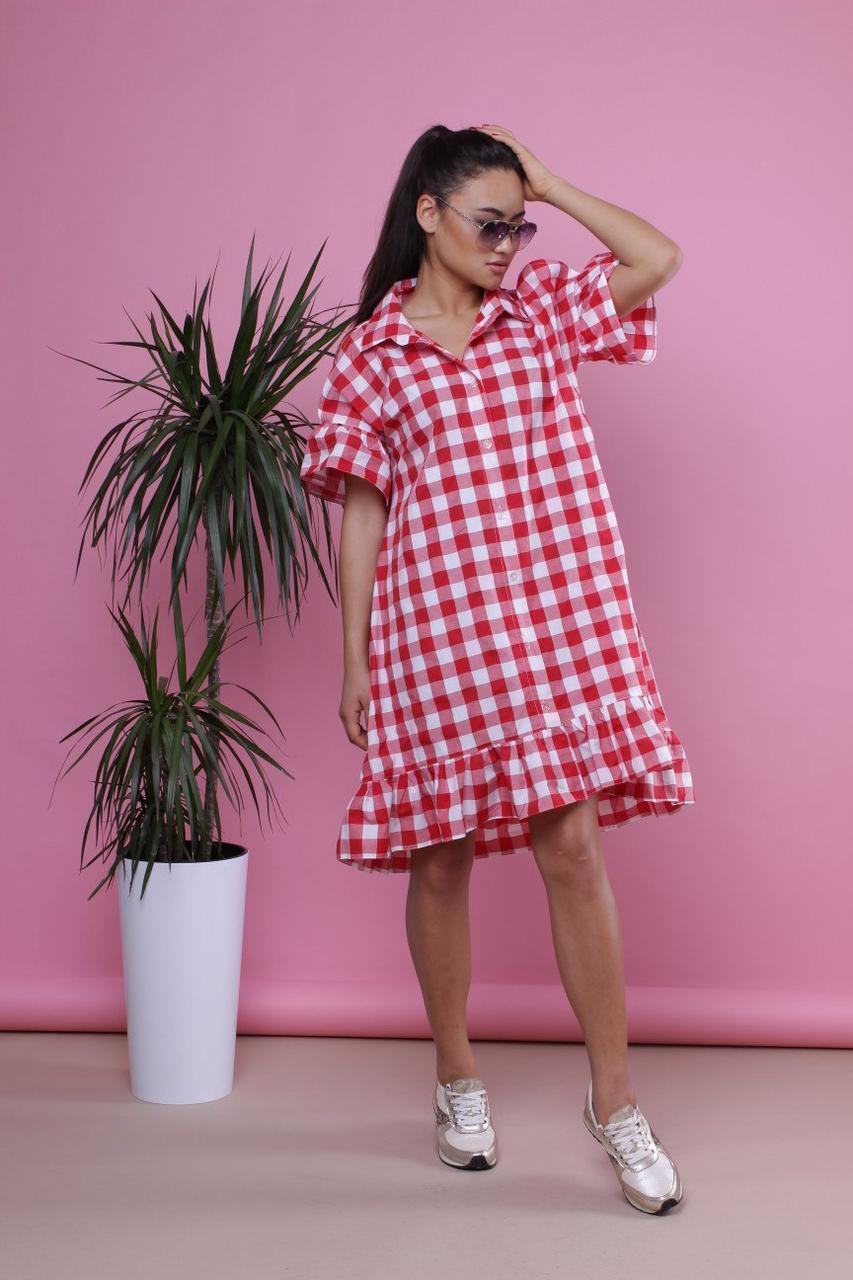 Свободное платье в клетку из хлопка 34plt1539
