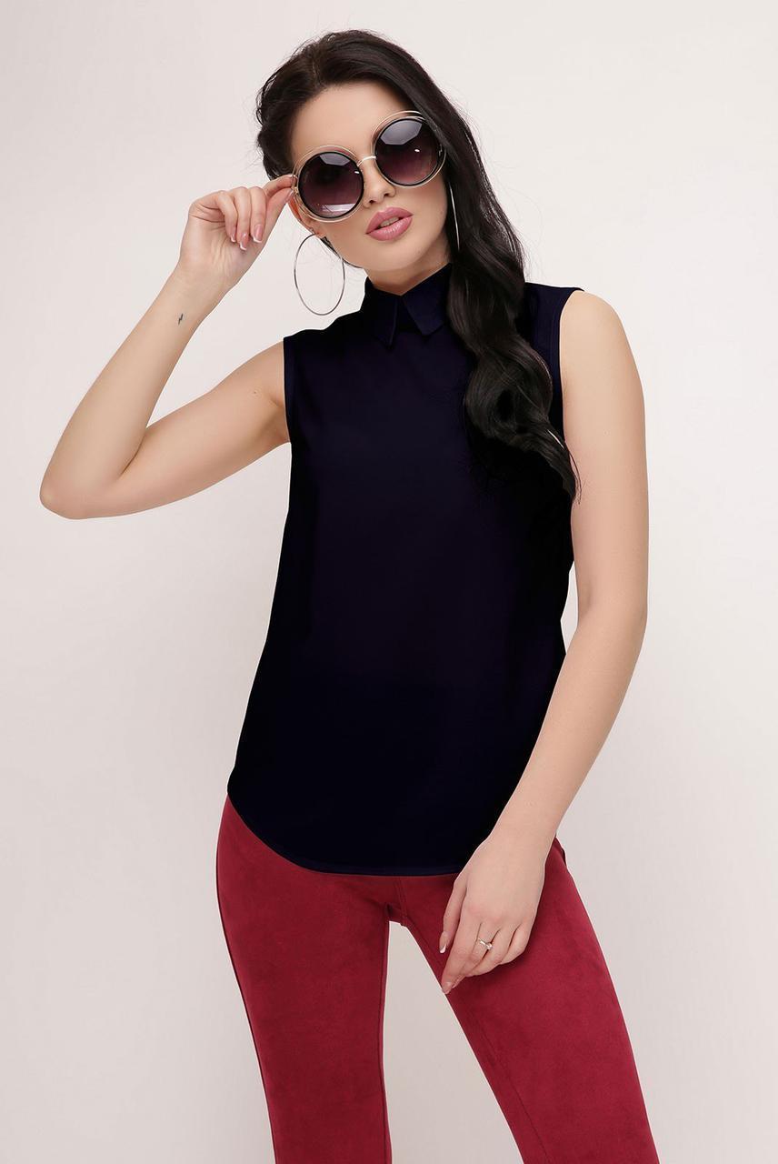 Шифоновая блуза без рукава и с воротником 47bir164