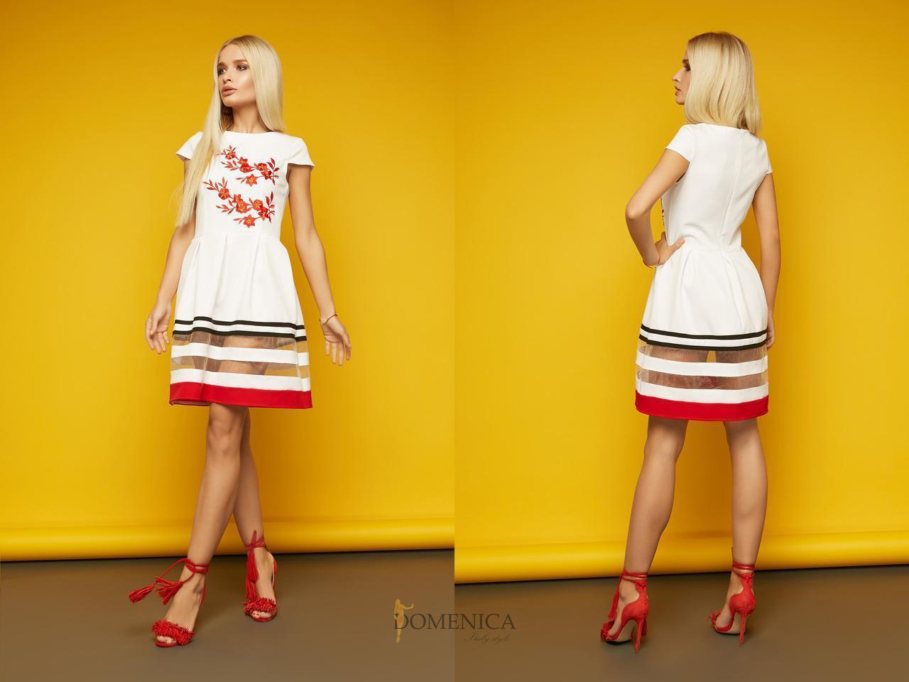 Летнее платье с юбкой-солнце и сеткой 31plt1590 630