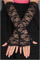 Кружевные перчатки без пальцев черные А-1121
