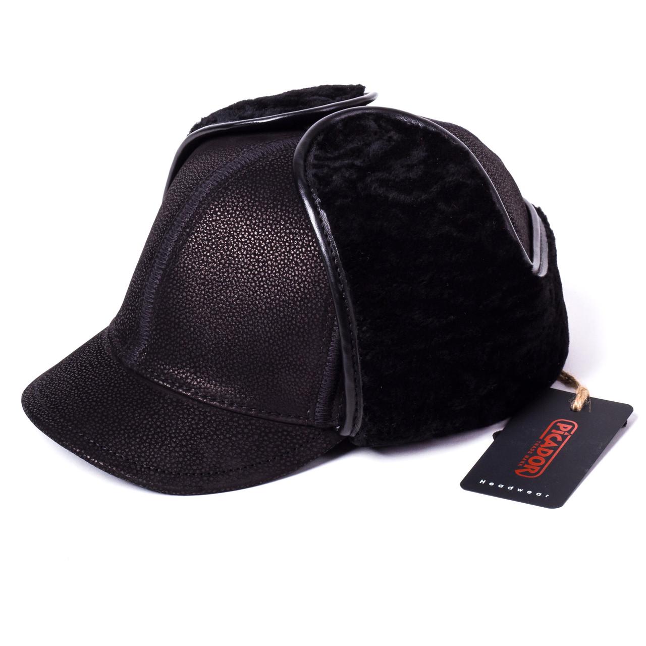 Кепка Жокей мужская замшевая черная Picador ЖСН-3-11-2