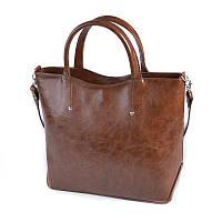 Коричневая женская сумка М75-22 деловая масляная фигурная на плечо, фото 1