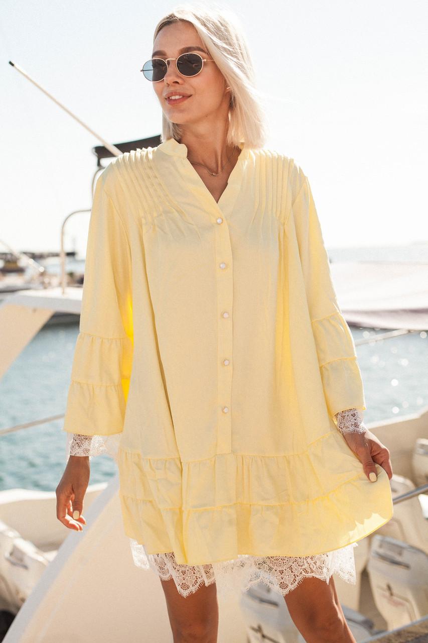 Свободное батистовое платье рубашка с кружевом 14plt1677