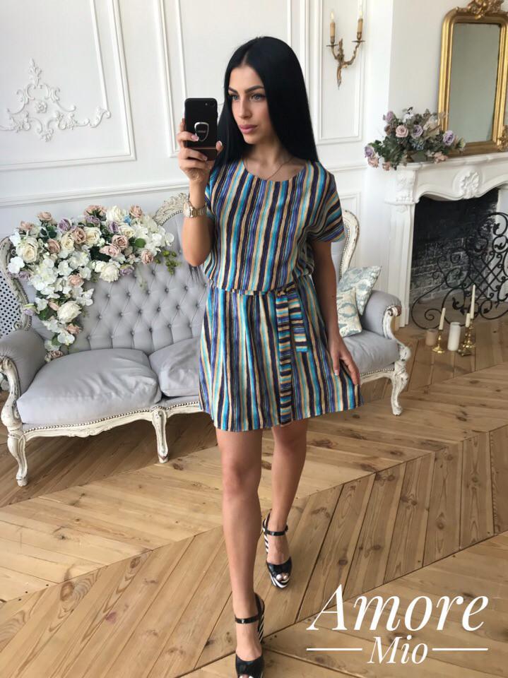 Принтованное платье притал с коротким рукавом 73plt1678