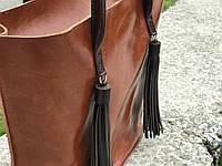 Вместительная женская сумка-шоппер   Алькор   Коньяк