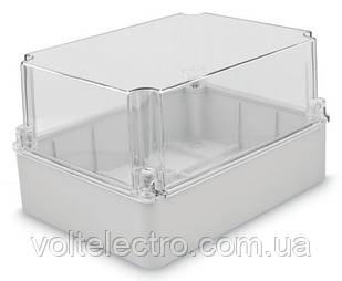 Коробка настенная 250x200x90 с гладкими стенками та прозрачной крышкой IP67