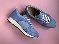 Кроссовки №472-4 голубой замш+темно голубой флотар (21812 черн след), фото 1