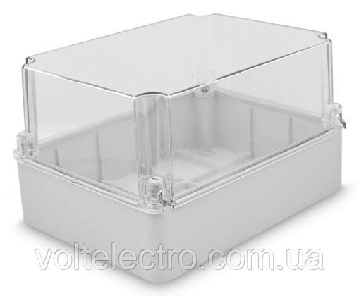 Коробка настенная 310x230x130 с гладкими стенками та прозрачной крышкой IP67