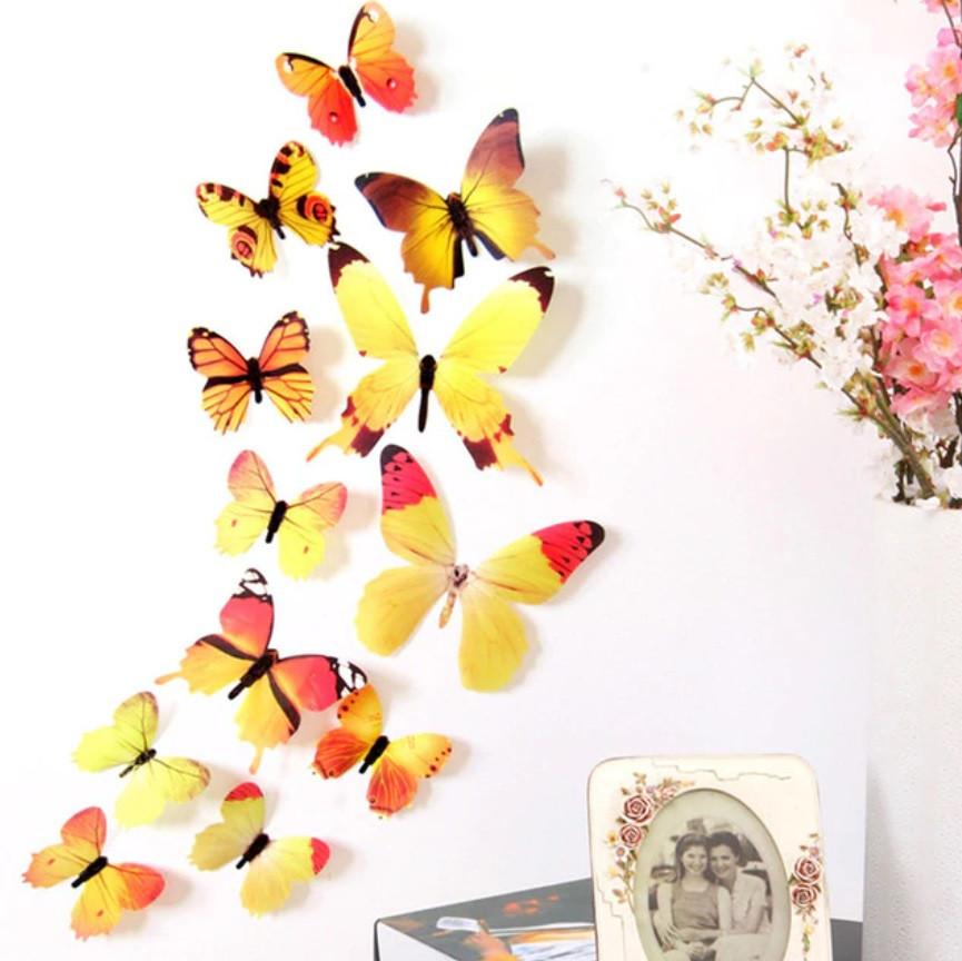 Наклейки на стену Бабочки Радуга 3D 12 шт. желтые