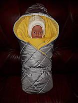 """Демисезонный конверт-одеяло """"Квадрат"""" на выписку из роддома унисекс серый"""