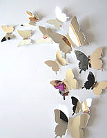 Наклейки на стену Бабочки Зеркальные 3D 12 шт. серебристые