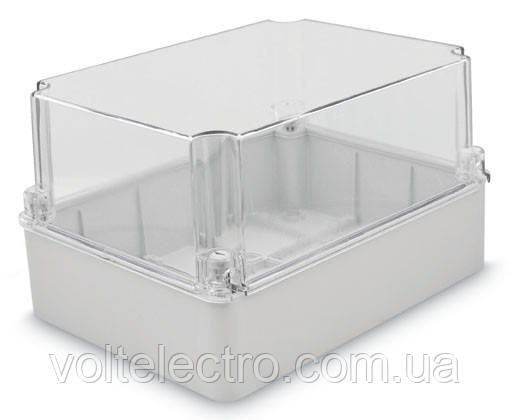Коробка настенная 310x230x180 с гладкими стенками та прозрачной крышкой IP67