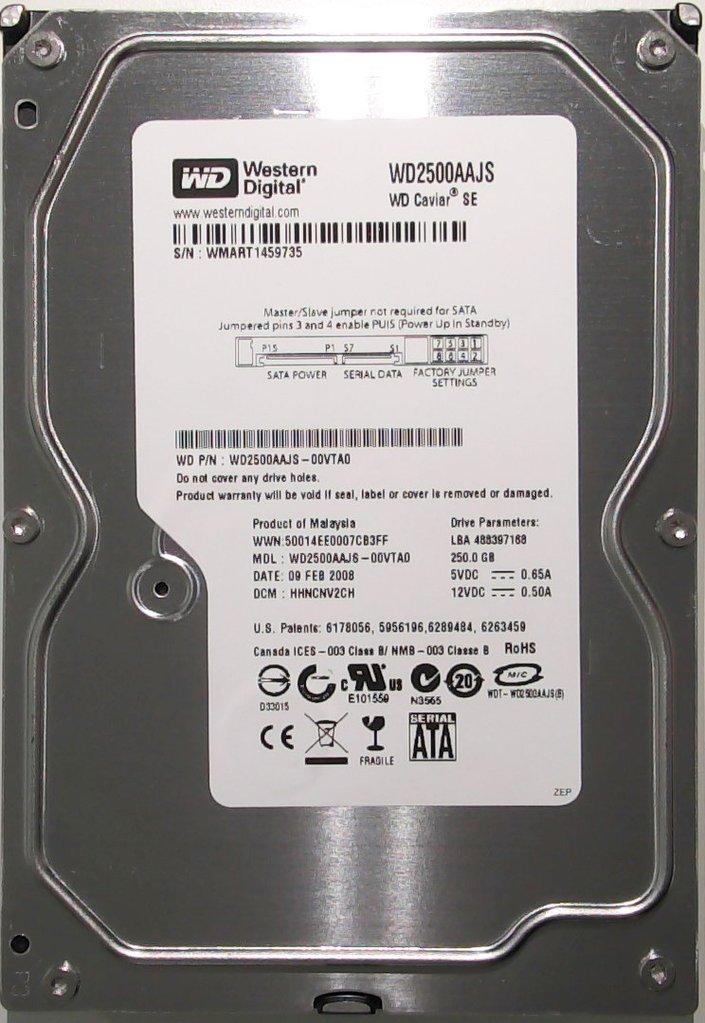 "Жесткий диск Western Digital 250GB 7200prm 8MB 3.5 SATA II (WD2500AAJS) ""Over-Stock"" Б/У"