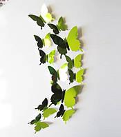 Наклейки на стену Бабочки Зеркальные 3D 12 шт. зеленые