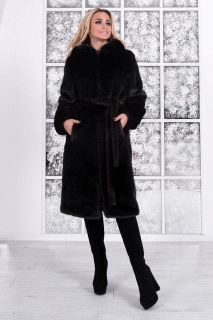 Женская шуба из искусственной норки с капюшоном 100 см длиной h-39shu80