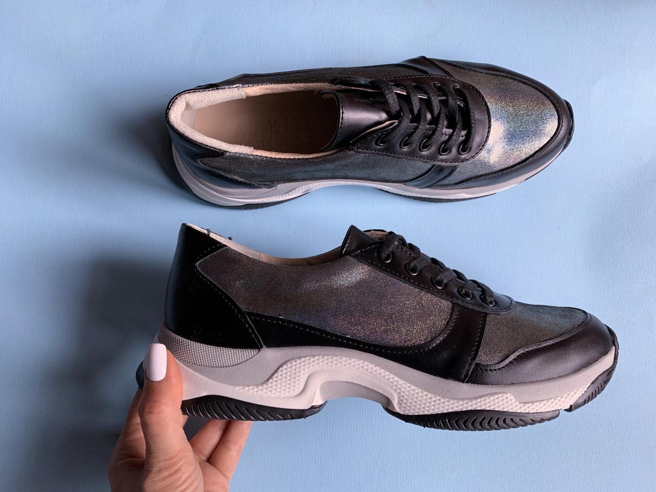 Кроссовки №478-33 черная кожа + сатин айла (крос 3 черный след)