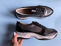 Кроссовки №478-33 черная кожа + сатин айла (крос 3 черный след), фото 1