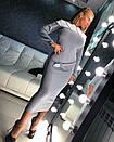 Офисное трикотажное платье с имитацией двойки длиной миди 18plt1848, фото 2