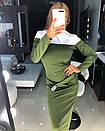 Офисное трикотажное платье с имитацией двойки длиной миди 18plt1848, фото 3