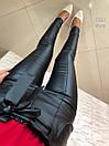 Кожаные женские лосины с завышенной талией и поясом 27bil277, фото 3