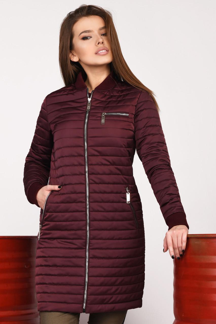 Куртка женская стеганая осень-весна удлиненная бордовая