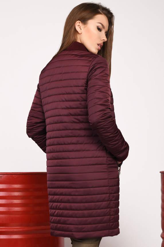 Куртка женская стеганая осень-весна удлиненная бордовая, фото 2