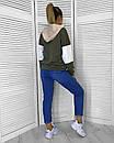 Женский трикотажный худи трехцветный 65dis374, фото 2