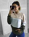 Женский трикотажный худи трехцветный 65dis374, фото 3