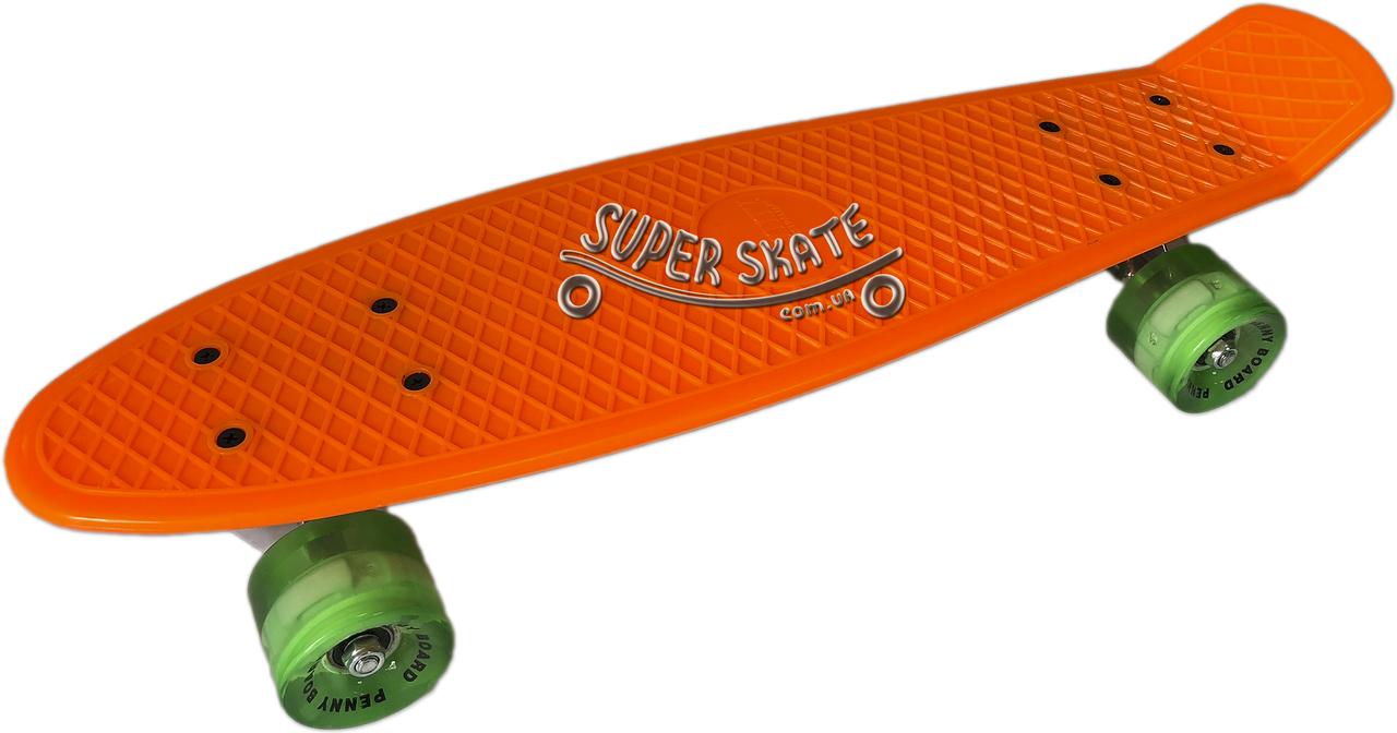 Скейт Пенни борд Penny Board LED 22 Orange - Оражневый 54см Светятся колеса