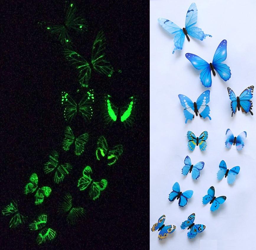 Наклейки на стену Бабочки 3D 12 шт. светящиеся голубые