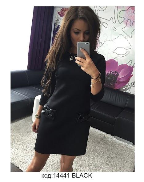 Удобное повседневное платье трапеция из французского трикотажа Fatsia S, Black